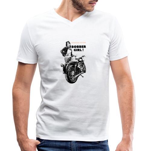 Bobber Girl Chopper Bikerin Vintage Motorrad Frau - Männer Bio-T-Shirt mit V-Ausschnitt von Stanley & Stella