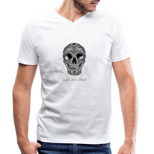 Chicano Style, Motorrad Rocker Skull Totenkopf HD - Männer Bio-T-Shirt mit V-Ausschnitt von Stanley & Stella