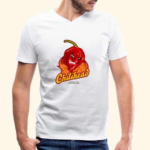 Chili Design Cartoon Chilihead | Grill T-Shirts - Männer Bio-T-Shirt mit V-Ausschnitt von Stanley & Stella