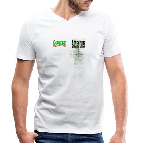 Limited Edition Wandern The Adventure begins here - Männer Bio-T-Shirt mit V-Ausschnitt von Stanley & Stella