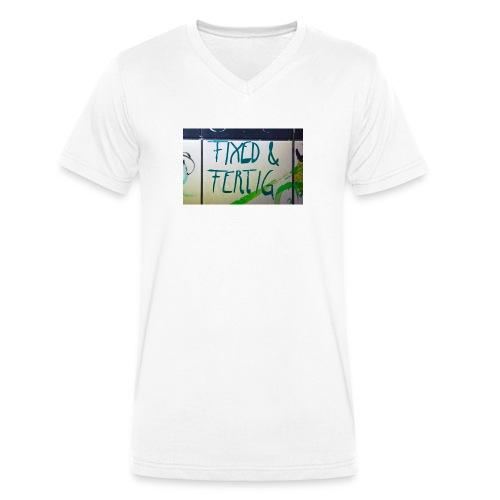KLOSPRUCH FIXED & FERTIG - Männer Bio-T-Shirt mit V-Ausschnitt von Stanley & Stella