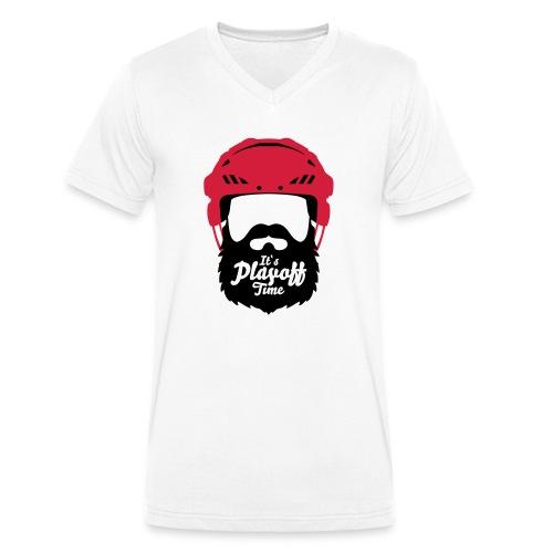 Eishockey Playoff Bart - Hockey Beard Helmet 1 - Männer Bio-T-Shirt mit V-Ausschnitt von Stanley & Stella