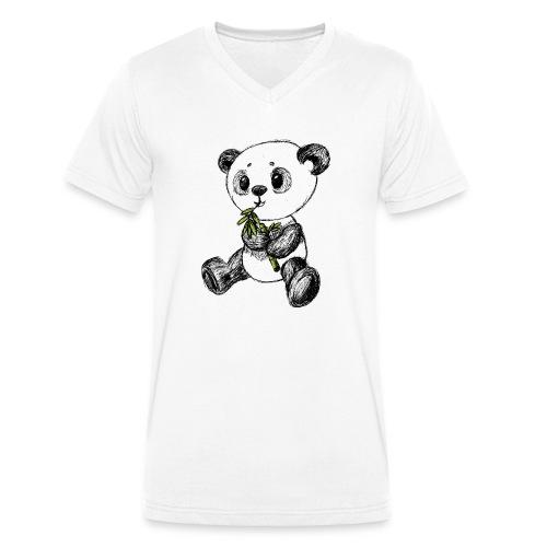 Panda Bär farbig scribblesirii - Männer Bio-T-Shirt mit V-Ausschnitt von Stanley & Stella