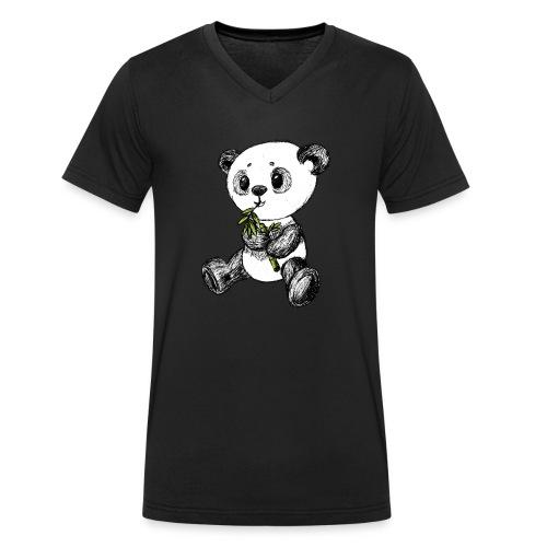 Panda bjørn farvet scribblesirii - Økologisk Stanley & Stella T-shirt med V-udskæring til herrer