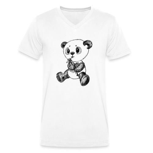Panda Karhu musta scribblesirii - Stanley & Stellan miesten luomupikeepaita