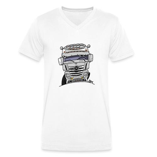 0807 M truck wit - Mannen bio T-shirt met V-hals van Stanley & Stella