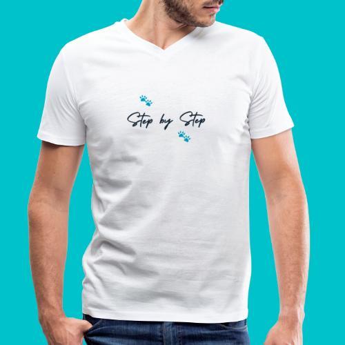Step by Step (zampine azzurre) - T-shirt ecologica da uomo con scollo a V di Stanley & Stella