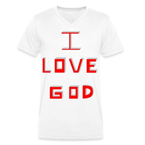 I LOVE GOD - Camiseta ecológica hombre con cuello de pico de Stanley & Stella