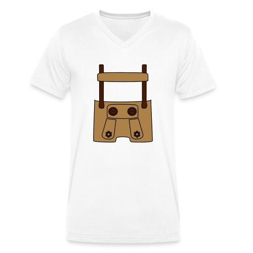 Meine erste Lederhose (vorne) - Männer Bio-T-Shirt mit V-Ausschnitt von Stanley & Stella