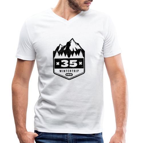 35 ✕ WINTERTRIP ✕ 2021 • BLACK - Mannen bio T-shirt met V-hals van Stanley & Stella