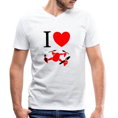 I Love Drones - Økologisk Stanley & Stella T-shirt med V-udskæring til herrer