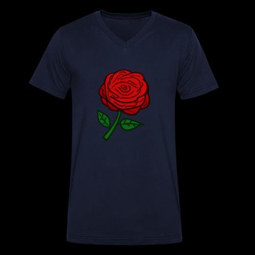 Rote Rose - Männer Bio-T-Shirt mit V-Ausschnitt von Stanley & Stella