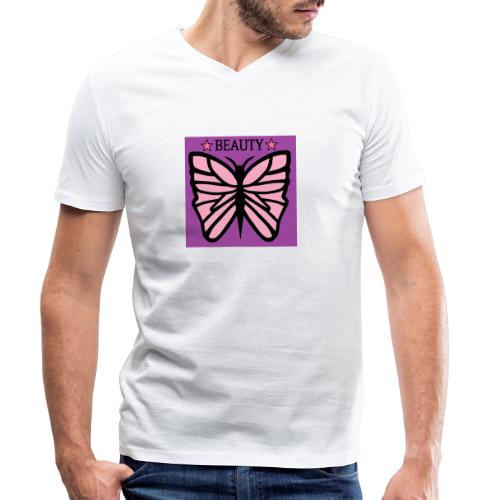 Fjäril beauty med färgerna rosa svart lila - Ekologisk T-shirt med V-ringning herr från Stanley & Stella