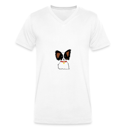 Papillon dog - Men's Organic V-Neck T-Shirt by Stanley & Stella