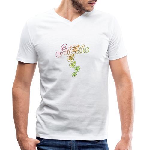 Aloha Hibiscus Blossoms - colored outlines - Männer Bio-T-Shirt mit V-Ausschnitt von Stanley & Stella