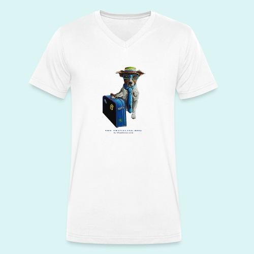The Traveling Dog - Men's Organic V-Neck T-Shirt by Stanley & Stella