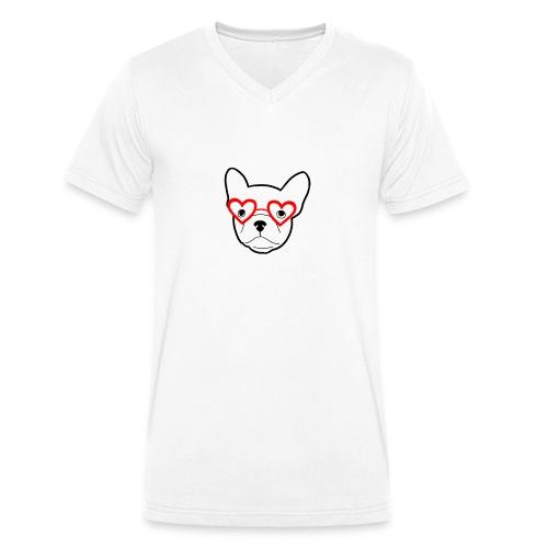 Frenchbulldogglasses - Männer Bio-T-Shirt mit V-Ausschnitt von Stanley & Stella