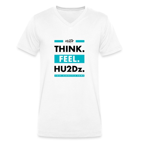 THINK FEEL HU2Dz Black White Shirt - Mannen bio T-shirt met V-hals van Stanley & Stella