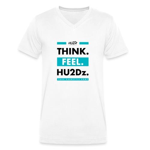 THINK FEEL HU2Dz Black White Shirt - Men's Organic V-Neck T-Shirt by Stanley & Stella