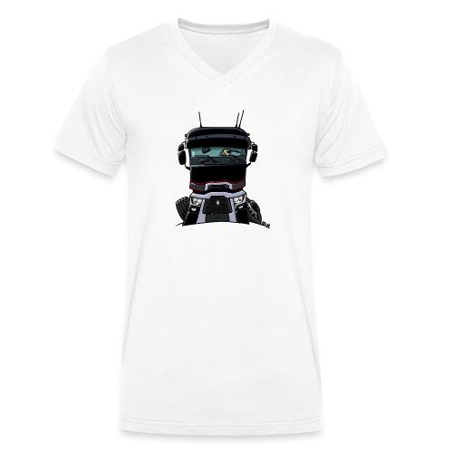 0813 R truck zwart - Mannen bio T-shirt met V-hals van Stanley & Stella