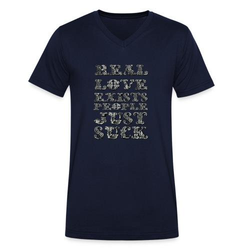 Real Love Exists REBEL INC. - Ekologiczna koszulka męska z dekoltem w serek Stanley & Stella