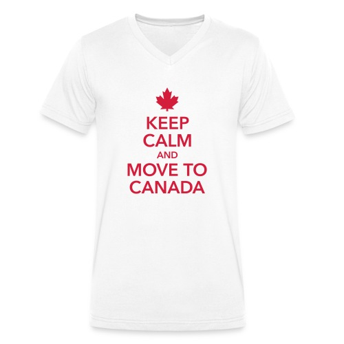 keep calm and move to Canada Maple Leaf Kanada - Men's Organic V-Neck T-Shirt by Stanley & Stella