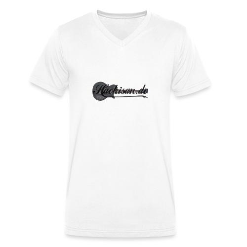 Tasse - schwarz - Hackisan-Logo vorne u. hinten - Männer Bio-T-Shirt mit V-Ausschnitt von Stanley & Stella