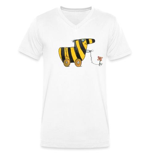 Janoschs Tigerente mit Blume - Männer Bio-T-Shirt mit V-Ausschnitt von Stanley & Stella