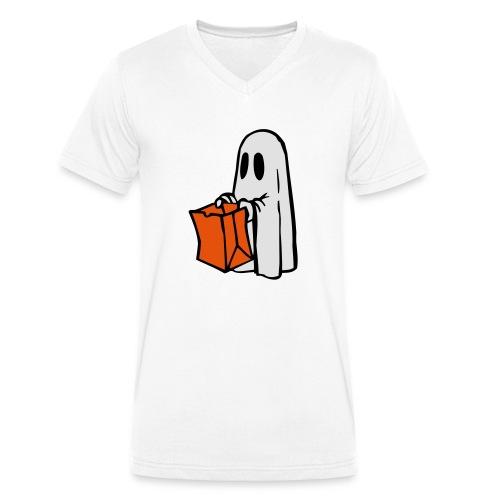 Geist mit Tüte 3farbig - Männer Bio-T-Shirt mit V-Ausschnitt von Stanley & Stella