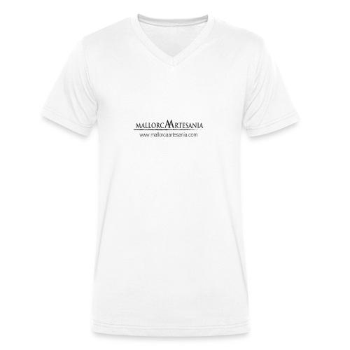 Mallorca Artesania con url - Camiseta ecológica hombre con cuello de pico de Stanley & Stella