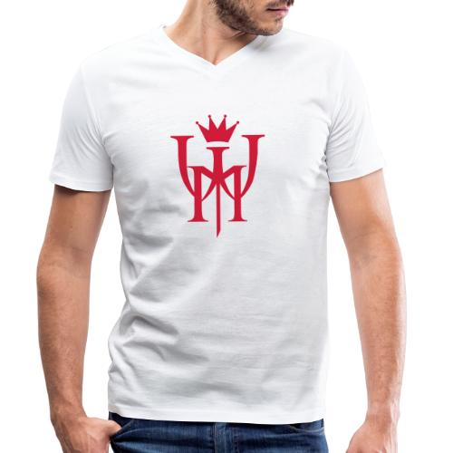 Logo MW Czerwone - Ekologiczna koszulka męska z dekoltem w serek Stanley & Stella