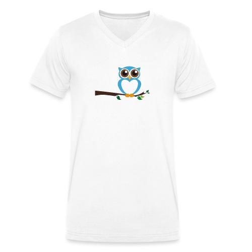 Blaue Eule - Männer Bio-T-Shirt mit V-Ausschnitt von Stanley & Stella