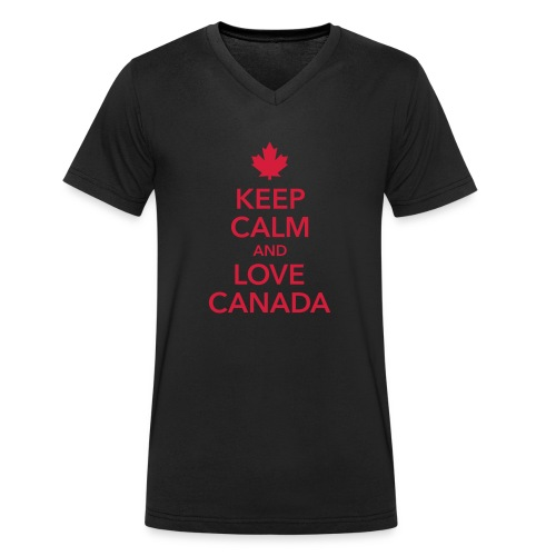 keep calm and love Canada Maple Leaf Kanada - Men's Organic V-Neck T-Shirt by Stanley & Stella