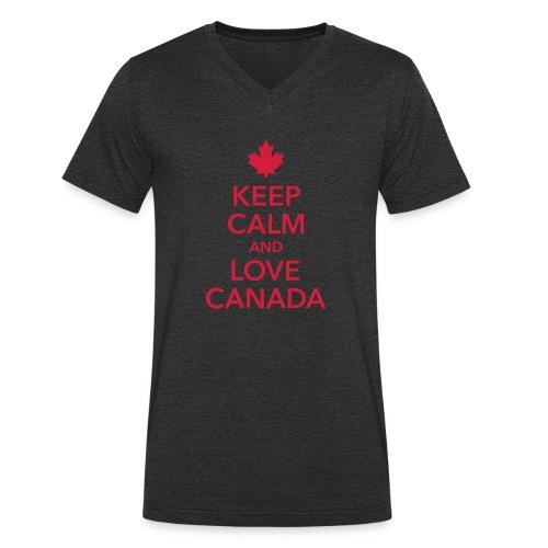 keep calm and love Canada Maple Leaf Kanada - Men's Organic V-Neck T-Shirt by Stanley & Stella