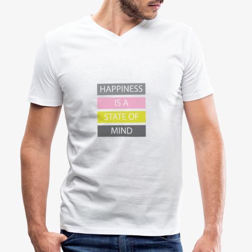 Happiness - T-shirt ecologica da uomo con scollo a V di Stanley & Stella