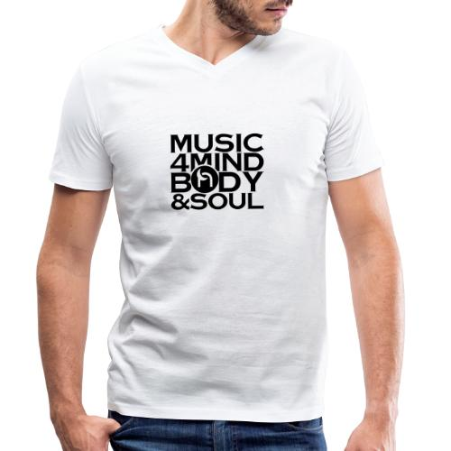 Music 4 Mind, Body & Soul Black - Men's Organic V-Neck T-Shirt by Stanley & Stella