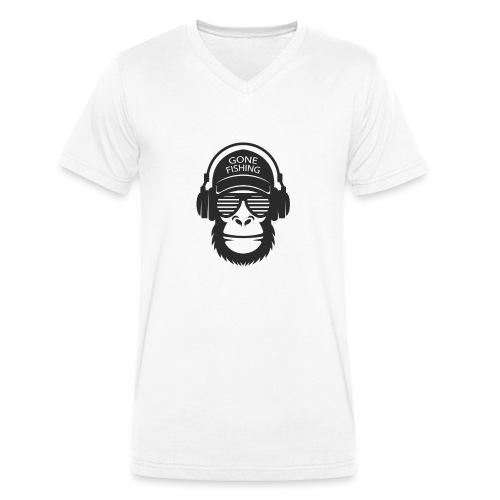 gone fishing black - T-shirt ecologica da uomo con scollo a V di Stanley & Stella