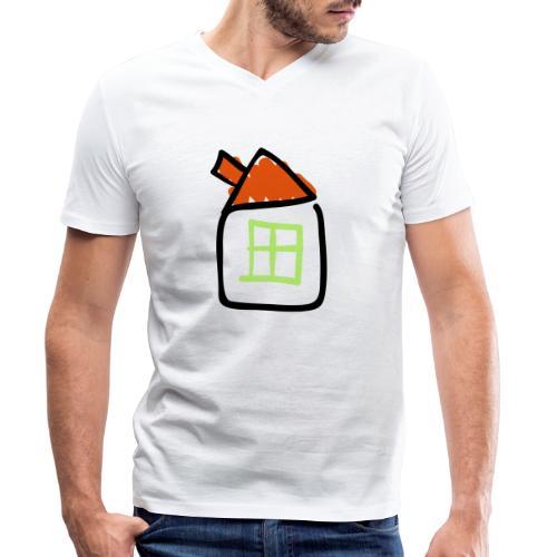 House Line Drawing Pixellamb - Männer Bio-T-Shirt mit V-Ausschnitt von Stanley & Stella
