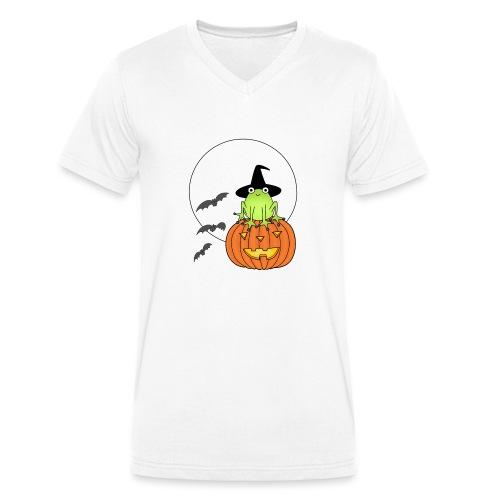 frog on pumpkin - Men's Organic V-Neck T-Shirt by Stanley & Stella