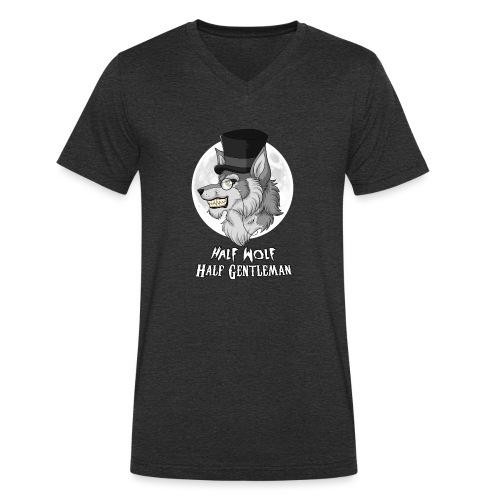 Half Wolf Half Gentleman - Ekologiczna koszulka męska z dekoltem w serek Stanley & Stella