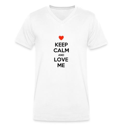 Keep calm and love me - T-shirt ecologica da uomo con scollo a V di Stanley & Stella