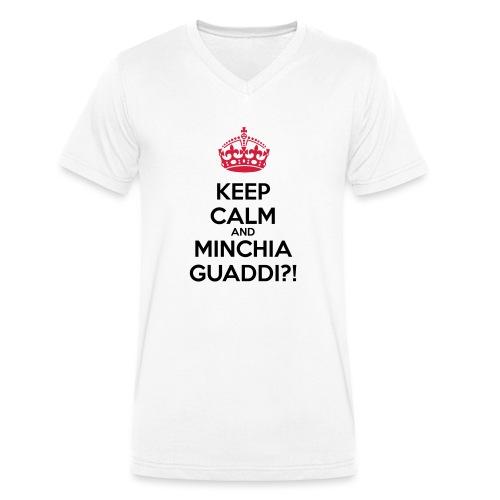 Minchia guaddi Keep Calm - T-shirt ecologica da uomo con scollo a V di Stanley & Stella