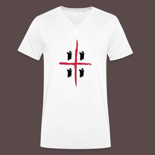 Sardegna Bendata, Bandiera 4 mori - T-shirt ecologica da uomo con scollo a V di Stanley & Stella