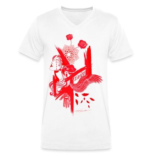 red fenix - T-shirt ecologica da uomo con scollo a V di Stanley & Stella