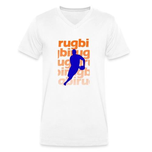 Silueta rugbi home - Camiseta ecológica hombre con cuello de pico de Stanley & Stella