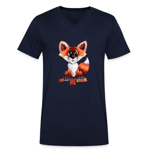 llwynogyn - a little red fox - Stanley & Stellan miesten luomupikeepaita