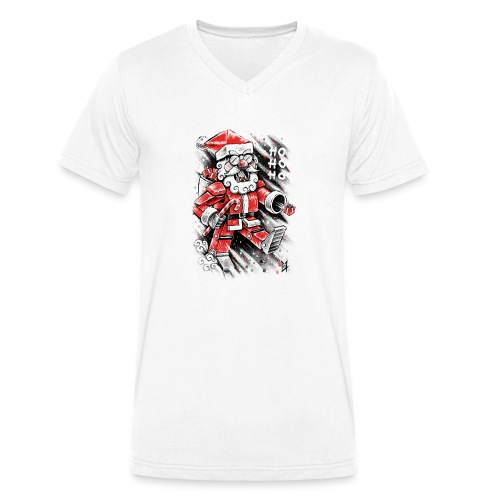 Robot Santa Claus - Men's Organic V-Neck T-Shirt by Stanley & Stella