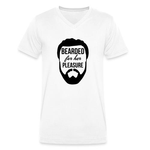 Bearded for her pleasure - Men's Organic V-Neck T-Shirt by Stanley & Stella