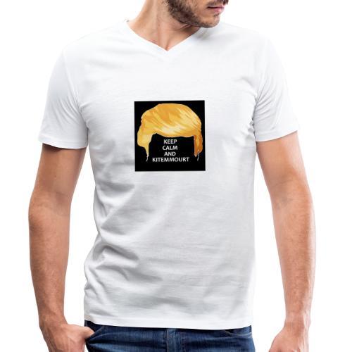 Keep Calm And Kitemmuort Capelli Trump - T-shirt ecologica da uomo con scollo a V di Stanley & Stella