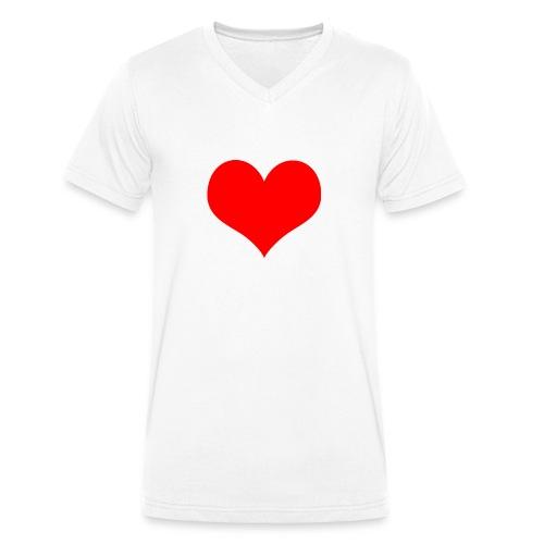 rotes Herz - Männer Bio-T-Shirt mit V-Ausschnitt von Stanley & Stella